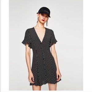 Zara black polka dot v-neck mini dress